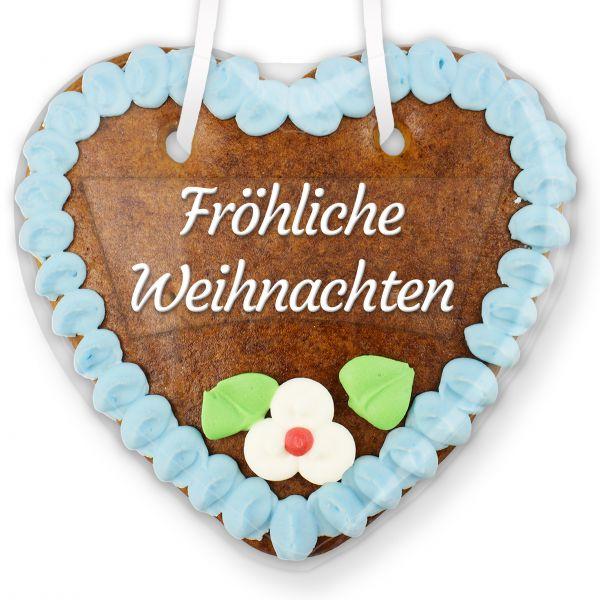 Lebkuchenherz mit Text - Aufkleber - 14cm - Fröhliche Weihnachten - Blau