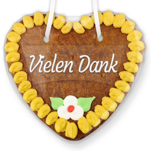 Lebkuchenherz mit Text - Aufkleber - 14cm - Vielen Dank - Gelb