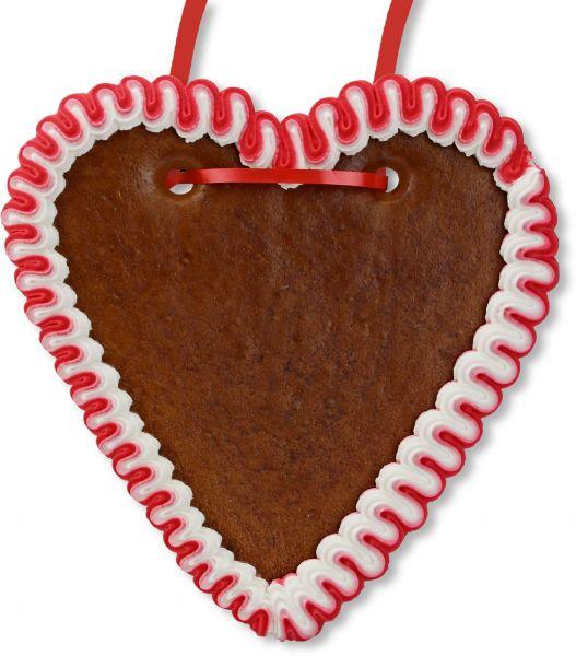 Lebkuchenherz Rohling - mit Rand - Rot-Weiß - 18cm