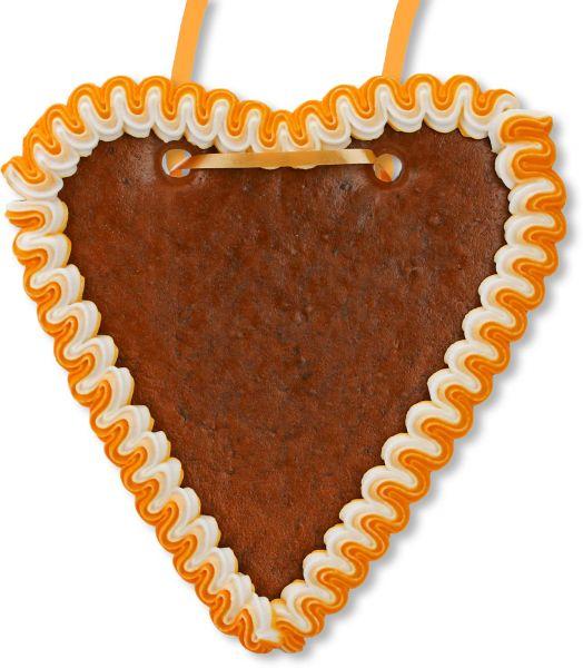 Lebkuchenherz Rohling - mit Rand - Orange-Weiß - 18cm