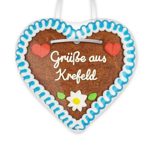 Lebkuchenherz, 12cm - Grüße aus Krefeld