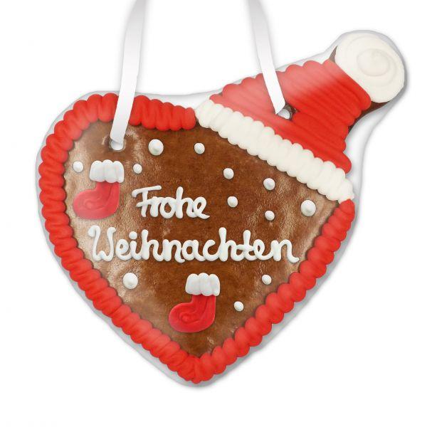 Lebkuchenherz mit Weihnachtsmütze - Frohe Weihnachten - 16cm