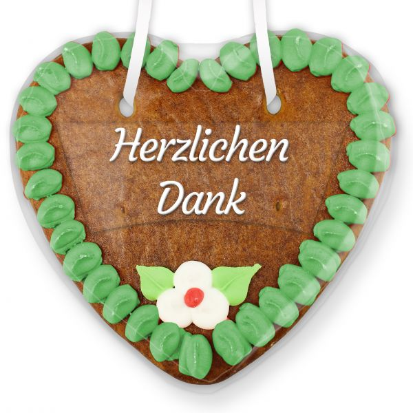 Lebkuchenherz mit Text - Aufkleber - 14cm - Herzlichen Dank - Grün
