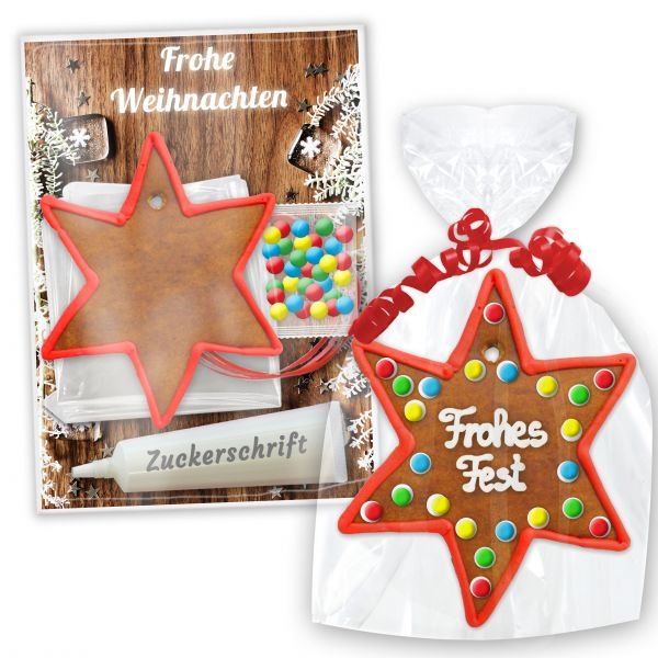 Bastelset mit Lebkuchenstern zum selbst Verzieren mit Anleitung - Weihnachten Edition