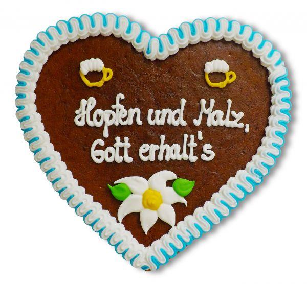 Lebkuchenherz, 23cm - Hopfen und Malz, Gott erhalt´s