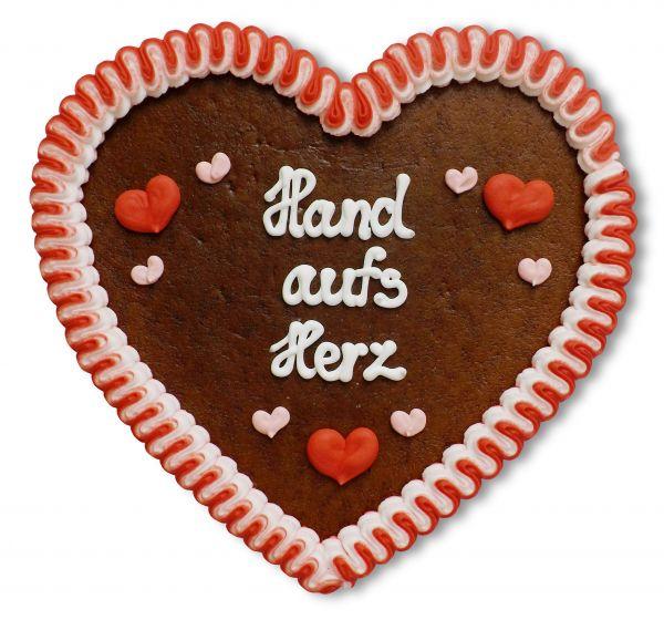 Lebkuchenherz, 23cm - Hand aufs Herz