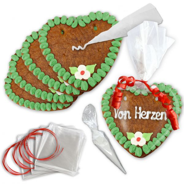 Lebkuchenherz Rohling - Selberbeschriften 10er-Set - 14cm - Grün