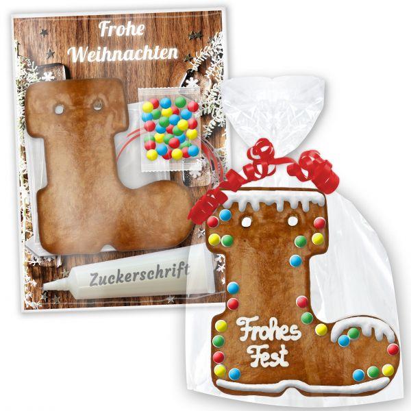 Lebkuchen Bastel-Set mit Stiefel zum selbst Gestalten - Weihnachten Edition