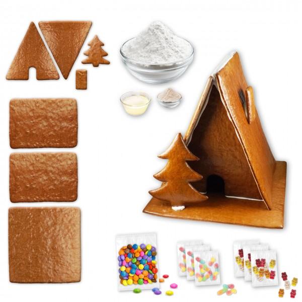 Hexenhaus – Bausatz mit Zuckerguss Fertig-Mix – ca. 36x37x36cm - inkl. Schokolinsen und Gummibärchen