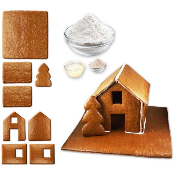 Lebkuchenhaus – Bausatz mit Zuckerguss Fertig-Mix – Größe XL - ca. 43x42x28cm