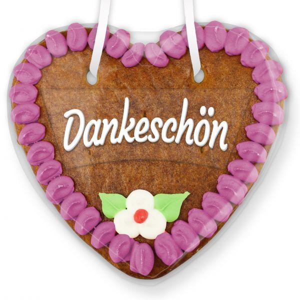 Lebkuchenherz mit Text - Aufkleber - 14cm - Dankeschön - Lila