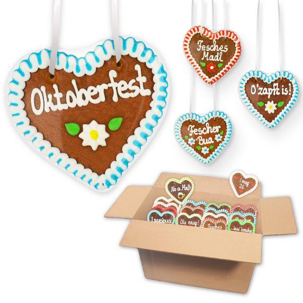 Lebkuchenherzen Mischkarton 12cm - Menge: wählbar - Oktoberfest Sprüche
