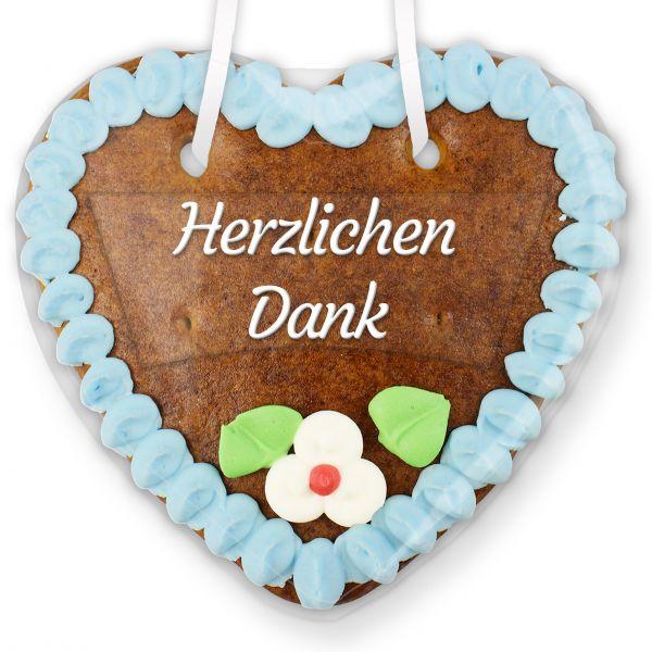 Lebkuchenherz mit Text - Aufkleber - 14cm - Herzlichen Dank - Blau