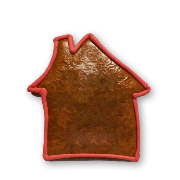 Lebkuchenhaus Rohling mit Rand - Rot - 15cm