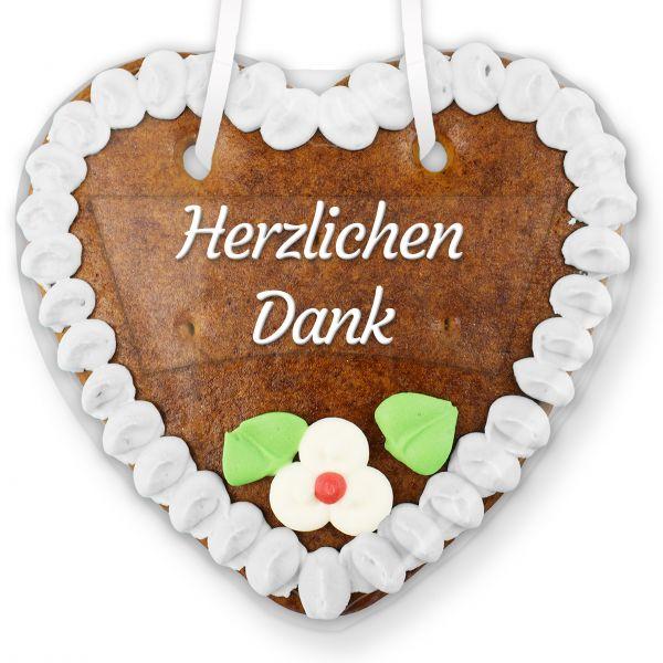 Lebkuchenherz mit Text - Aufkleber - 14cm - Herzlichen Dank - Weiß