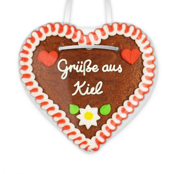 Lebkuchen Herz, 12cm - Grüße aus Kiel