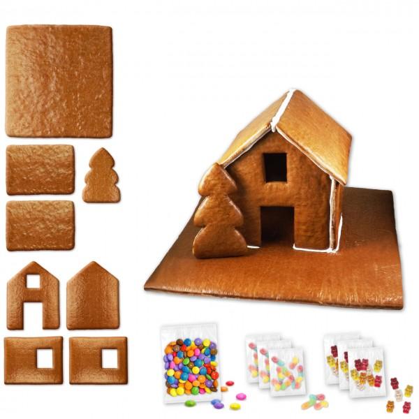 Lebkuchenhaus – Bausatz - ca. 43x42x28cm - inkl. Schokolinsen und Gummibärchen