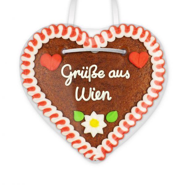 Lebkuchen Herz, 12cm - Grüße aus Wien