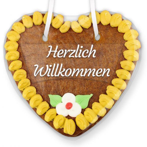 Lebkuchenherz mit Text - Aufkleber - 14cm - Herzlich Willkommen - Gelb