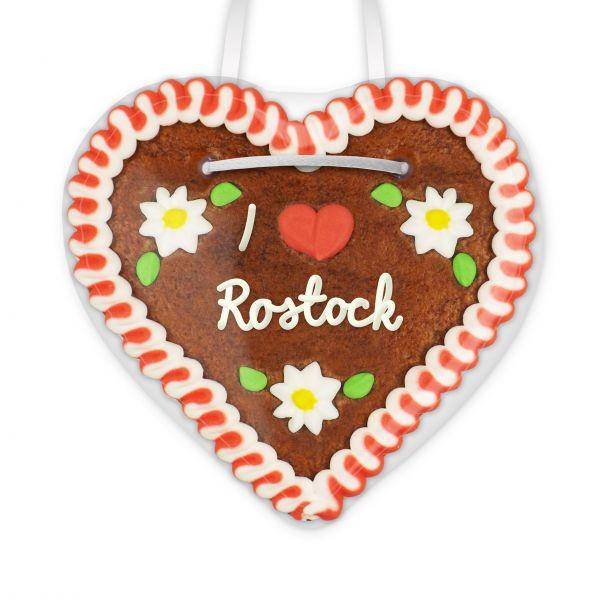 Lebkuchenherz, 12cm - I love Rostock