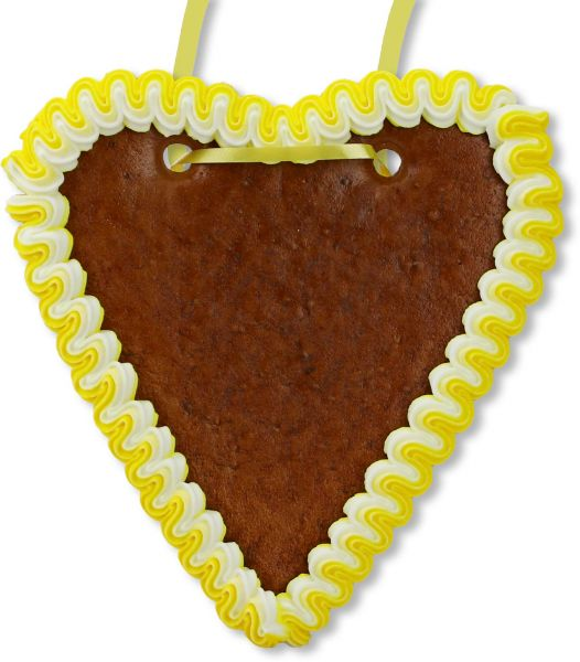 Lebkuchenherz Rohling - mit Rand - Gelb-Weiß - 18cm