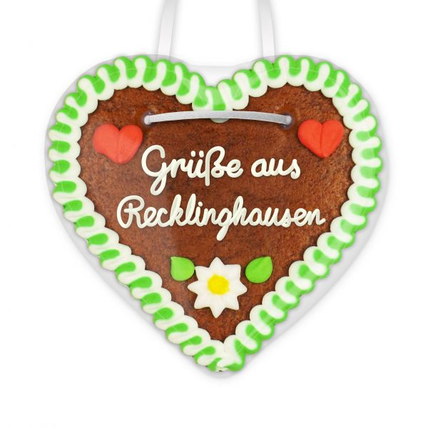 Lebkuchenherz, 12cm - Grüße aus Recklinghausen