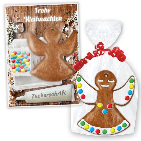 Lebkuchen Bastel Set mit Engel zum Selbstgestalten mit Anleitung - Weihnachten Edition
