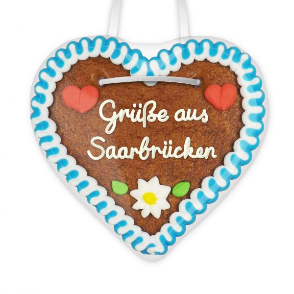 Lebkuchen Herz, 12cm - Grüße aus Saarbrücken
