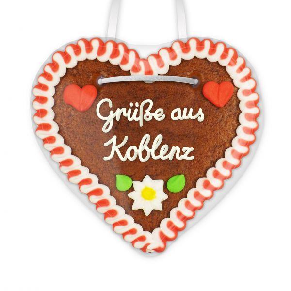 Lebkuchen Herz, 12cm - Grüße aus Koblenz