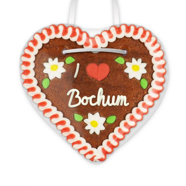 Lebkuchenherz, 12cm - I love Bochum