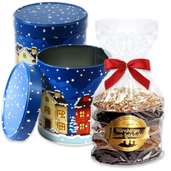 Lebkuchendose Blaue Weihnachten mit Elisenlebkuchen