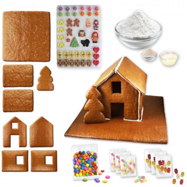 Lebkuchenhaus – Bausatz mit Zuckerguss Fertig-Mix - ca. 43x42x28cm - inkl. Hexenhausdeko A, Schokoli