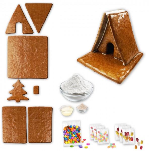 Hexenhaus – Bausatz mit Zuckerguss Fertig-Mix – ca. 17x17x15cm - inkl. Schokolinsen und Gummibärchen