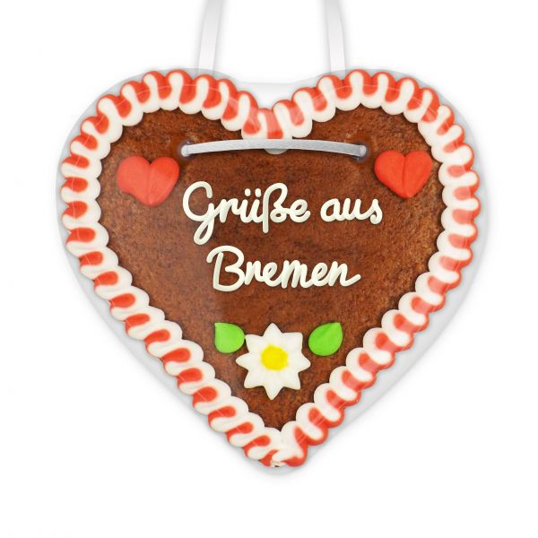 Lebkuchen Herz, 12cm - Grüße aus Bremen