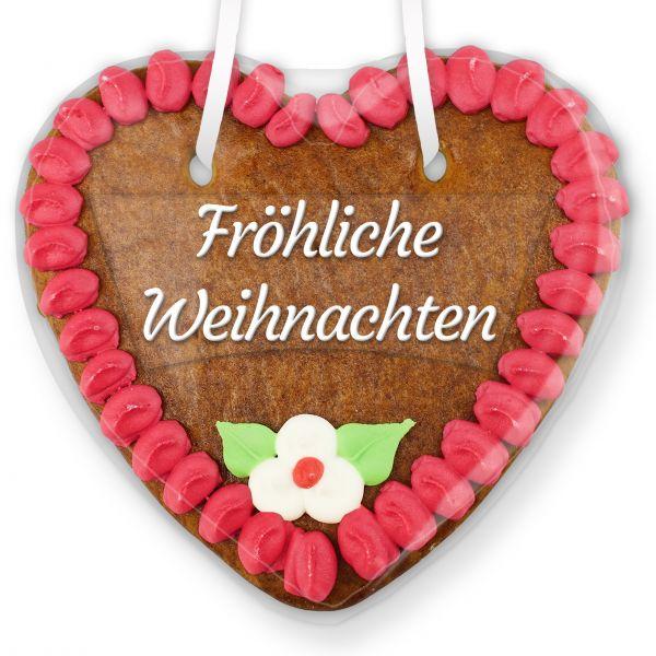Lebkuchenherz mit Text - Aufkleber - 14cm - Fröhliche Weihnachten - Pink
