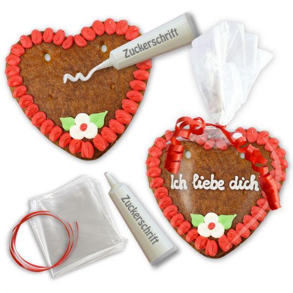 Lebkuchenherz Rohling - Selberbeschriften-Set - 14cm - Rot