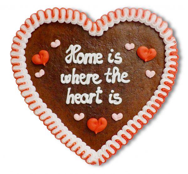 Lebkuchenherz, 23cm - Home is where the heart is