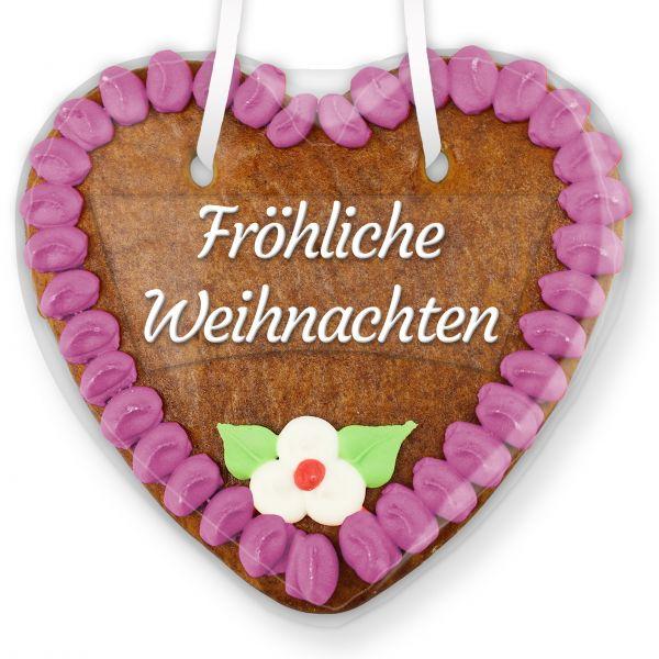 Lebkuchenherz mit Text - Aufkleber - 14cm - Fröhliche Weihnachten - Lila