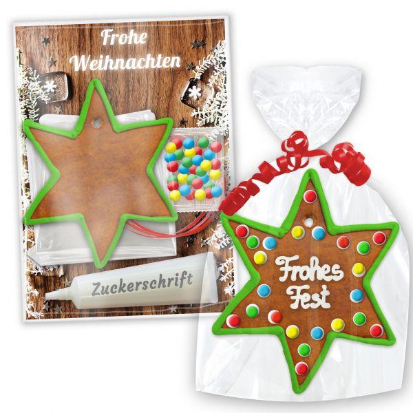 Stern aus Lebkuchen - Bastel-Set zum Selbstgestalten - Weihnachten Edition