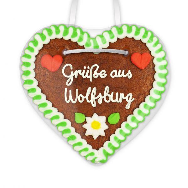 Lebkuchen Herz, 12cm - Grüße aus Wolfsburg