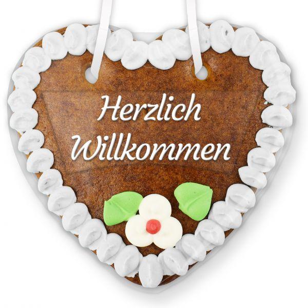 Lebkuchenherz mit Text - Aufkleber - 14cm - Herzlich Willkommen - Weiß