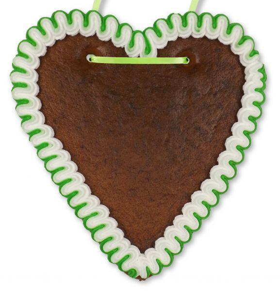 Lebkuchenherz Rohling - mit Rand - Grün-Weiß - 18cm