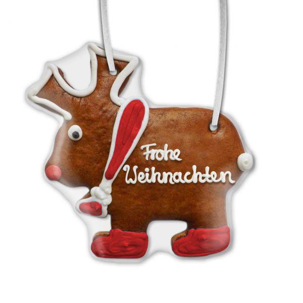 Lebkuchen Elch - Frohe Weihnachten - rot - 22cm