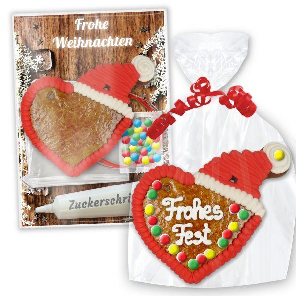 Bastel Set Lebkuchenherz mit Weihnachtsmütze - zum Selbstbeschriften - Weihnachten Edition
