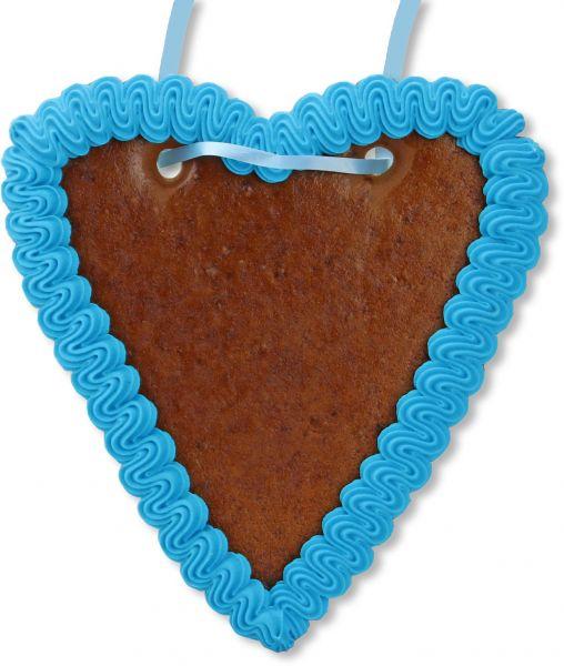 Lebkuchenherz Rohling - mit Rand - Blau - 18cm
