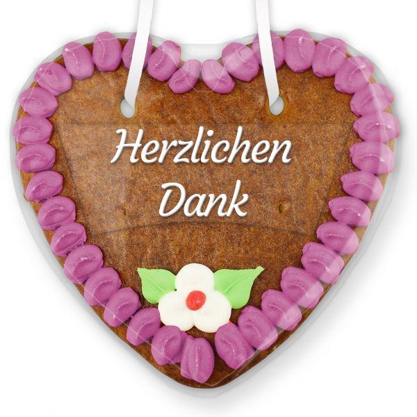 Lebkuchenherz mit Text - Aufkleber - 14cm - Herzlichen Dank - Lila