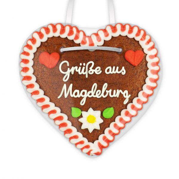 Lebkuchen Herz, 12cm - Grüße aus Magdeburg