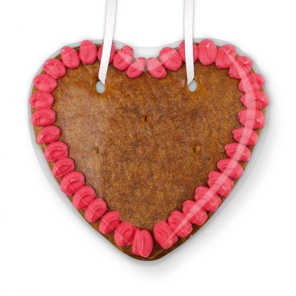 Lebkuchen Herz Rohling - mit Rand - 14cm - pink