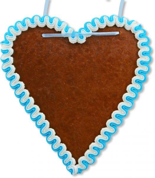 Lebkuchenherz Rohling - mit Rand - Blau-Weiß - 21cm