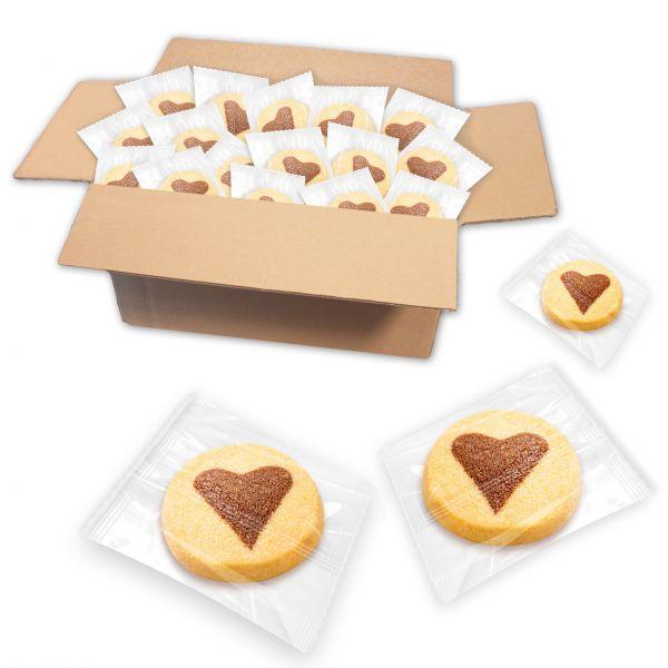 Schoko Herzen Buttergebäck, einzeln verpackt - ca. 175 Stk
